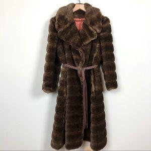 Vintage 90s Benmor Faux Fur Wrap Style Coat Size M